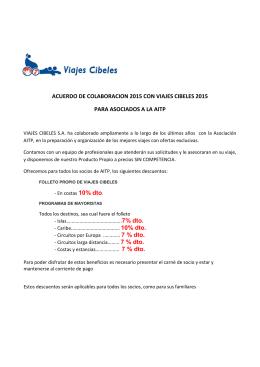 ACUERDO DE COLABORACION 2015 CON VIAJES