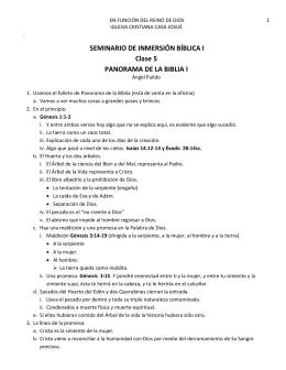 SEMINARIO DE INMERSIÓN BÍBLICA I Clase 5 PANORAMA DE LA