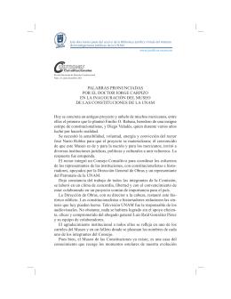 PALABRAS PRONUNCIADAS POR EL DOCTOR JORGE CARPIZO