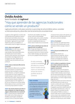 """Ovidio Andrés """"Hay que aprender de las agencias"""