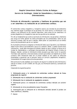 Cateterismo cardiaco: - SERVICIO DE CARDIOLOGIA HOSPITAL