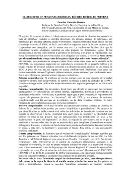 EL REGISTRO DE PERSONAS JURÍDICAS: RÉCORD DIFÍCIL DE