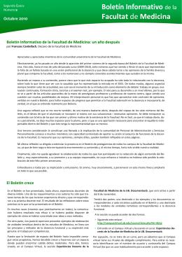 Boletín Informativo de la Facultad de Medicina
