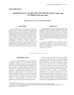 Resistencia al ataque del picudo del ejote Apion spp en frijol
