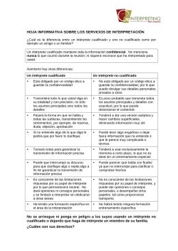 HOJA INFORMATIVA SOBRE LOS SERVICIOS DE