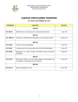 cartas circulares vigentes - Oficina del Contralor General de Puerto