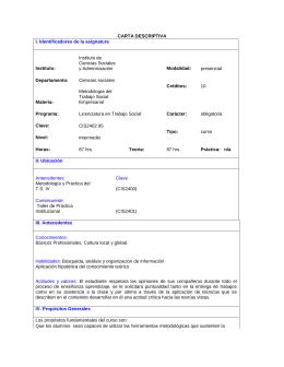 CARTA DESCRIPTIVA I. Identificadores de la asignatura
