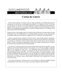 Cartas de Lutero - Seminario Luterano Augsburgo