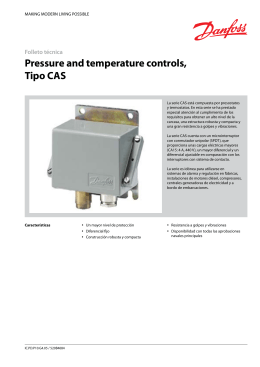 Pressure and temperature controls, Tipo CAS
