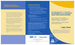 DE REGRESO A LA ESCUELA GUÍA PARA EDUCADORES