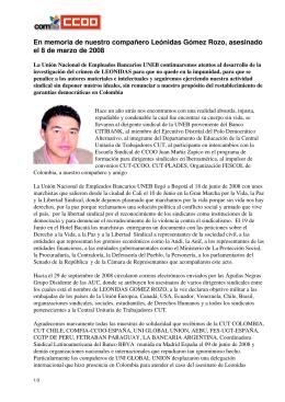 En memoria de nuestro compañero Leónidas Gómez Rozo