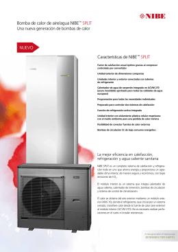 Bomba de calor de aire/agua NIBE™ SPLIT Características de NIBE