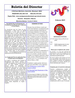 Boletín del Director - Montgomery County Public Schools
