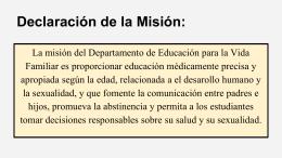 Declaración de la Misión: - New Hanover County Schools