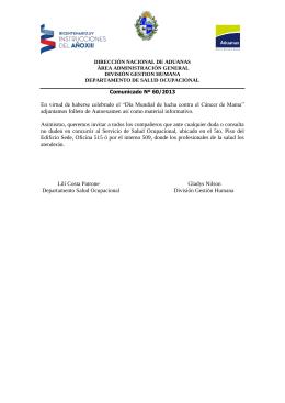 Comunicado 60_13 - Dirección Nacional de Aduanas