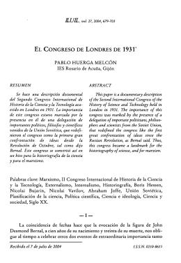 EL CONGRESO DE LONDRES DE 1931 PABLO HUERGA