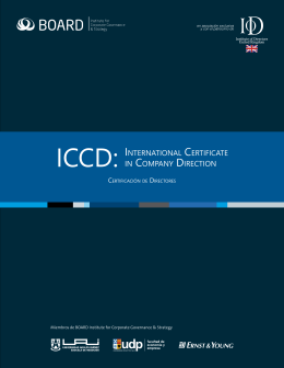 ICCD: INTERNATIONAL CERTIFICATE IN COMPANy DIRECTION