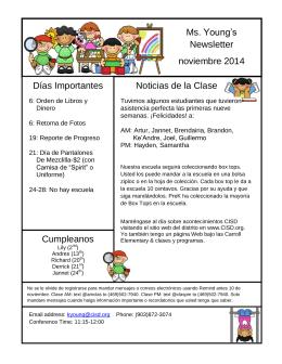 Ms. Young`s Newsletter noviembre 2014 Noticias de la Clase Días