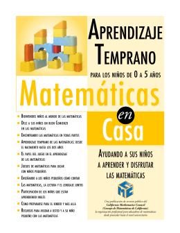 APRENDIZAJE TEMPRANO - Early Learning: Math at Home