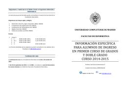 Información para Alumnos de Nuevo Ingreso Curso 2014-2015