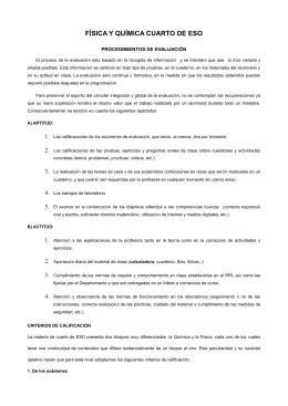 FÍSICA Y QUÍMICA CUARTO DE ESO