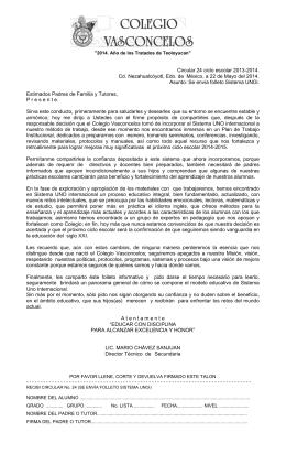 COLEGIO VASCONCELOS, SOCIEDAD CULTURAL, A