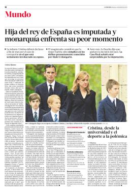 Hija del rey de España es imputada y monarquía enfrenta su peor