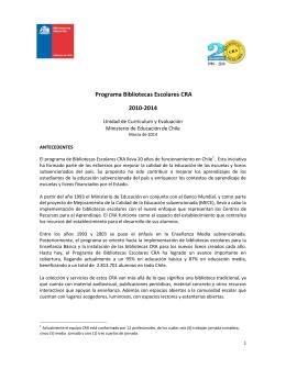 Programa Bibliotecas Escolares CRA 2010-2014