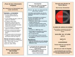 ¡Favor de leer el formulario completo! SESIÓN DE OTO ÑO 2015