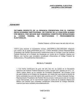 JGE46/2001 - Instituto Nacional Electoral