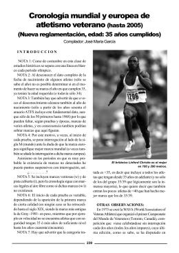 Cronología mundial y europea de atletismo veterano