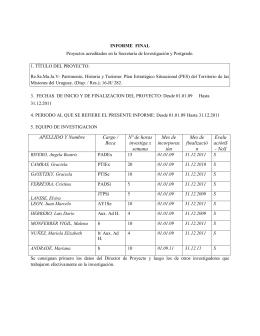 APELLIDO Y Nombre Cargo / Beca Nº de horas investiga x semana