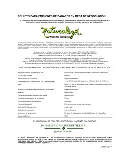 folleto para emisiones de pagares en mesa de negociación