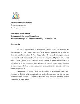 Ayuntamiento de Porto Alegre Preservando conquistas