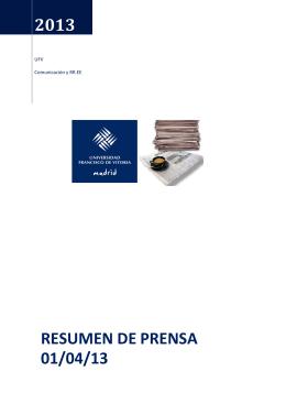 2013 resumen de prensa 01/04/13 - Comunicación Institucional UFV