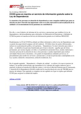 CCOO pone en marcha un servicio de información - Comfia-CCOO
