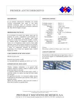 PINTURAS Y SOLVENTES DE MEXICO, S.A.