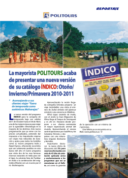 Politours, presenta su catálogo índico
