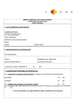 MISIÓN COMERCIAL BULGARIA-HUNGRÍA ( 26 de febrero al 4 de