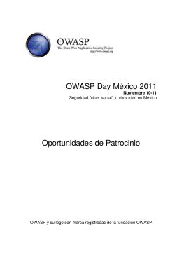 OWASP Day México Oportunidades de Patrocinio
