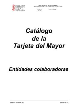 Catálogo de la Tarjeta del Mayor