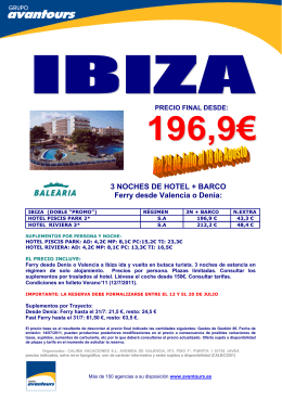 3 NOCHES DE HOTEL + BARCO Ferry desde Valencia