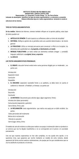 TIPOS DE TEXTOS ARGUMENTATIVOS En los