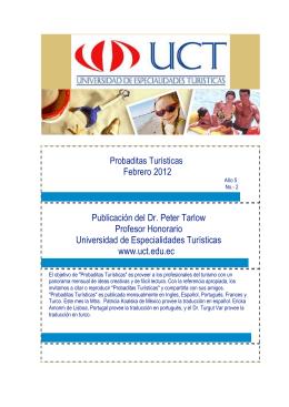 Febrero 2012 Publicación del Dr. Peter Tarlow Profesor Honorario
