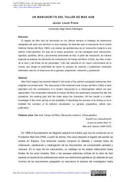 Un manuscrito del taller de Max Aub - Olivar