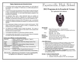 2012 Programa de la Escuela de Verano