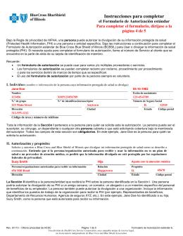 Instrucciones para completar - Blue Cross and Blue Shield of Illinois