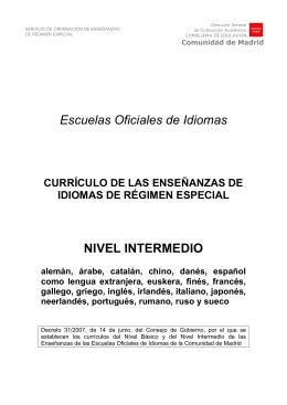 Escuelas Oficiales de Idiomas NIVEL INTERMEDIO
