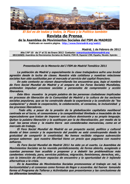 Resumen de Prensa Nº 10 - Foro Social Mundial de Madrid