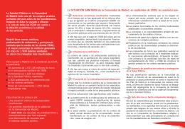 La sanidad pública de la Comunidad de Madrid en Peligro